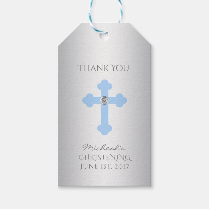 Blue Cross Gift Tag Baby Christening gift Tag Baby boy baptism favor tag Personalized Baby Baptism Gift Tags