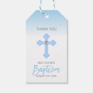 Elegant Baby Blue Cross Thank You Baptism Boy Gift Tags
