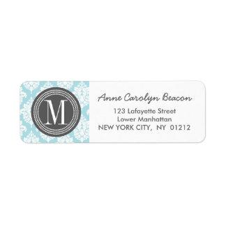 Elegant Baby Blue Damask Personalized Label