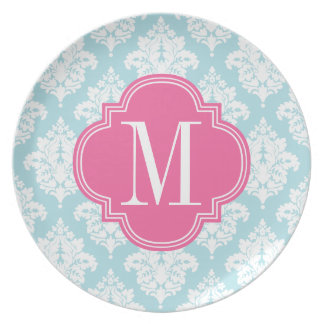 Elegant Baby Blue Damask Personalized Party Plates