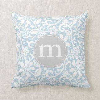 White Lace Throw Pillow : Elegant Baby Blue Retro Lace Personalized Monogram Throw Pillows