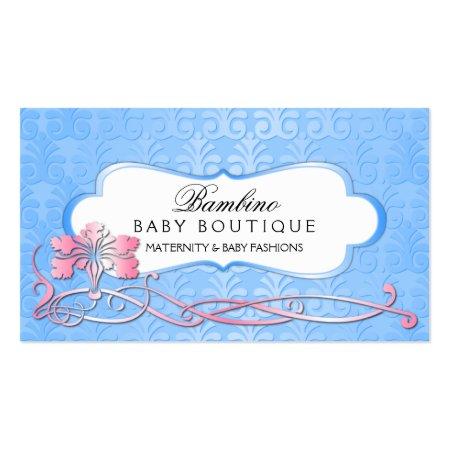 Elegant Blue Damask and Pink Floral Design Baby Boutique Business Cards