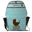 Elegant Baby Carriage and Blue Damask Messenger Bag