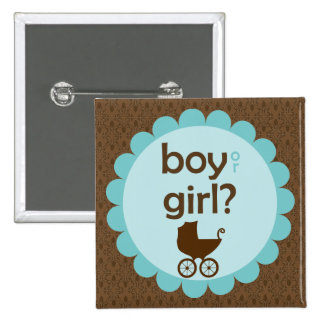 Elegant Baby Carriage Gender Reveal Party Pinback Button