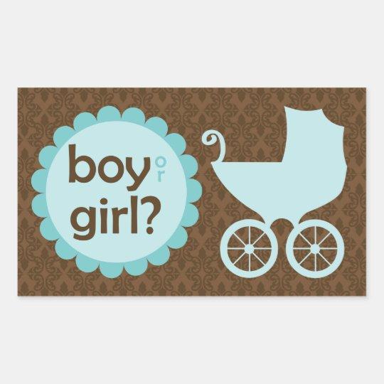 Elegant Baby Carriage Gender Reveal Party Rectangular Sticker