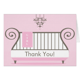 Elegant Baby Crib Baby Shower Thank You Note Card