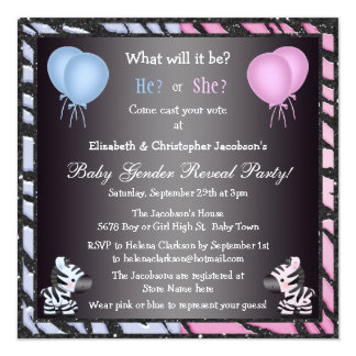 Elegant Baby Gender Reveal Zebras & Balloons Card