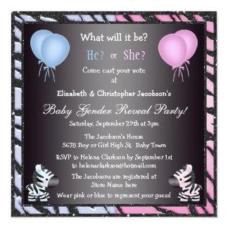 Elegant Baby Gender Reveal Zebras & Balloons Invitation