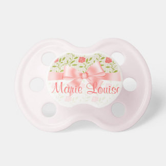 Elegant Baby Girl Pink Floral and Pink Ribbon Pacifier