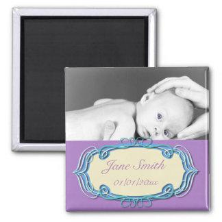 Elegant Baby Photo Keepsake - Blue and Purple Magnet