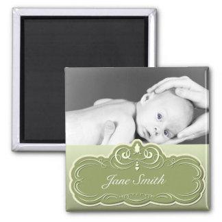 Elegant Baby Photo Keepsake - Green Fridge Magnet