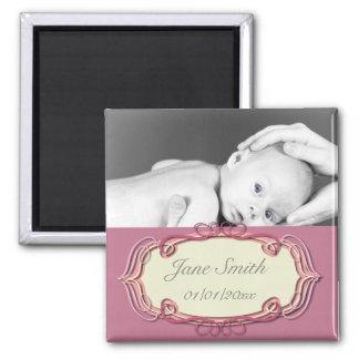 Elegant Baby Photo Keepsake - Pink Magnet