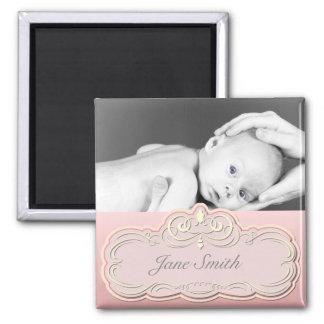 Elegant Baby Photo Keepsake - Pink Fridge Magnets