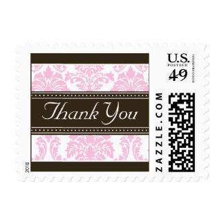Elegant Baby Pink Damask Ribbon Thank You Stamps