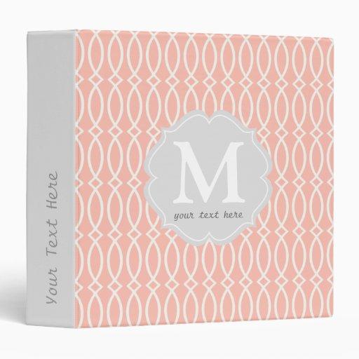 Elegant Baby Pink Modern Trellis Personalized 3 Ring Binder