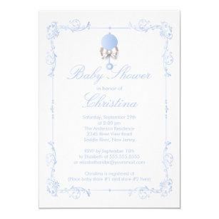 Elegant baby boy shower invitations zazzle elegant baby rattle boy baby shower invitation filmwisefo