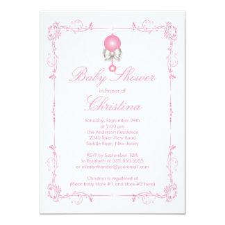 Elegant Baby Rattle Girl Baby Shower Invitation