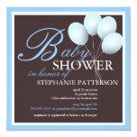 "Elegant Baby Shower Blue Balloons Invitation 5.25"" Square Invitation Card"
