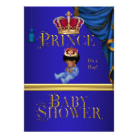 Elegant Baby Shower Boy Blue Little Prince Crown 2 Personalized Invite