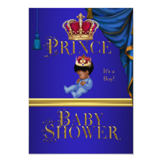 "Elegant Baby Shower Boy Blue Little Prince Crown 2 5"" X 7"" Invitation Card"
