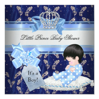 Elegant Baby Shower Boy Blue Little Prince Crown Card