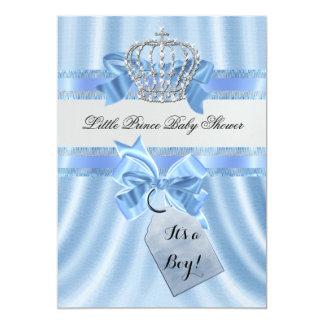 Elegant Baby Shower Boy Blue Little Prince Crown 5x7 Paper Invitation Card