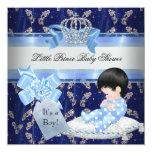Elegant Baby Shower Boy Blue Little Prince Crown Invitation