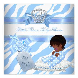 Elegant Baby Shower Boy Blue Zebra Prince Ethnic Card