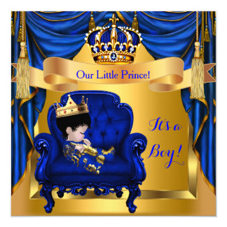 Elegant Baby Shower Boy Prince Royal Blue Gold ASI 5.25x5.25 Square Paper Invitation Card
