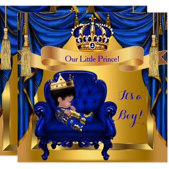 Elegant Baby Shower Boy Prince Royal Blue Gold Invitation Zazzle