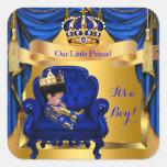 Elegant Baby Shower Boy Prince Royal Blue Gold Square Sticker