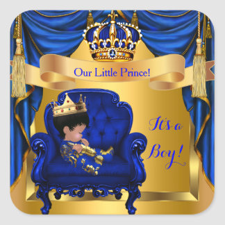 Elegant Baby Shower Boy Prince Royal Blue Gold Square Sticker