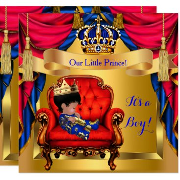 Toddler & Baby themed Elegant Baby Shower Boy Prince Royal Blue Red Gold Card