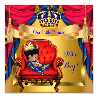 Elegant Baby Shower Boy Prince Royal Blue Red Gold 5.25x5.25 Square Paper Invitation Card