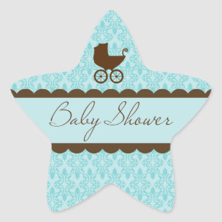 Elegant Baby Shower Carriage and Blue Damask Star Sticker