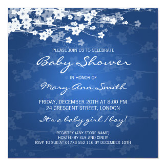 Elegant Baby Shower Cherry Blossom Blue 5.25x5.25 Square Paper Invitation Card