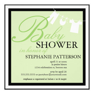Elegant Baby Shower Clothes Line Green Invitation