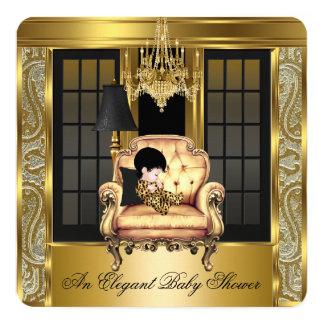 Elegant Baby Shower Damask Chandelier Gold Chair 2 Card