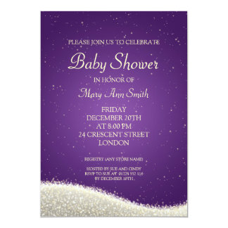 Elegant Baby Shower Dazzling Sparkles Purple Card