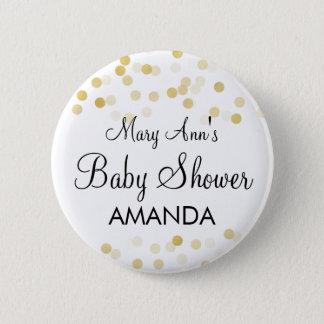 Elegant Baby Shower Faux Gold Foil Glitter Lights Button