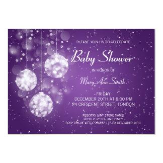 Elegant Baby Shower Festive Baubles Purple Card