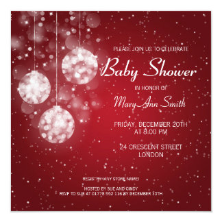 Elegant Baby Shower Festive Baubles Red Card
