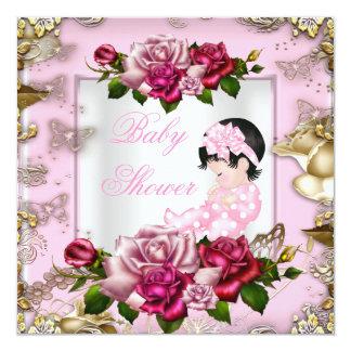 Elegant Baby Shower Girl Pink Roses White Gold 5.25x5.25 Square Paper Invitation Card