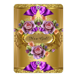 Elegant Baby Shower Girl Purple Pink Gold Roses 2 Card
