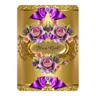 Elegant Baby Shower Girl Purple Pink Gold Roses 2 5x7 Paper Invitation Card