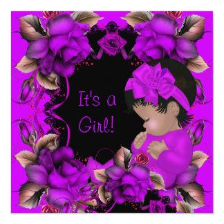Elegant Baby Shower Girl Purple Pink Rose Flowers 5.25x5.25 Square Paper Invitation Card