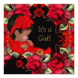 Elegant Baby Shower Girl Red Rose Flowers Card