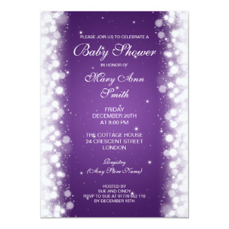 Elegant Baby Shower Magic Sparkle Purple 5x7 Paper Invitation Card