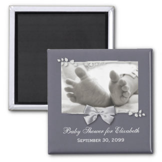 Elegant Baby Shower New Baby Feet With Silver Bow 2 Inch Square Magnet