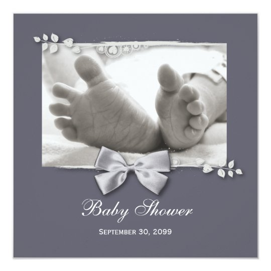 Elegant Baby Shower New Baby Feet With Silver Bow Card